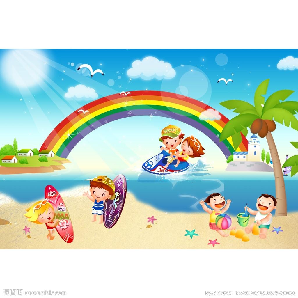 儿童海边沙滩简笔画